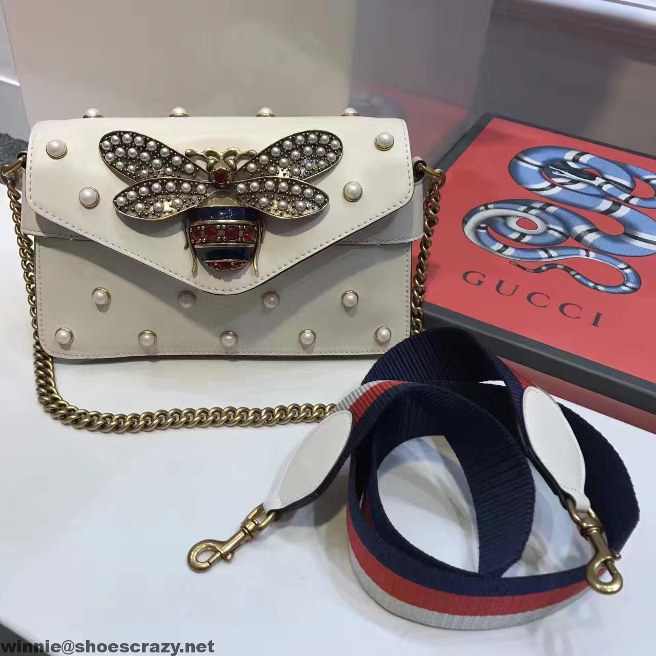 gucci 2017 bags. gucci bee \u0026 pearl embellished leather shoulder bag 2017 bags
