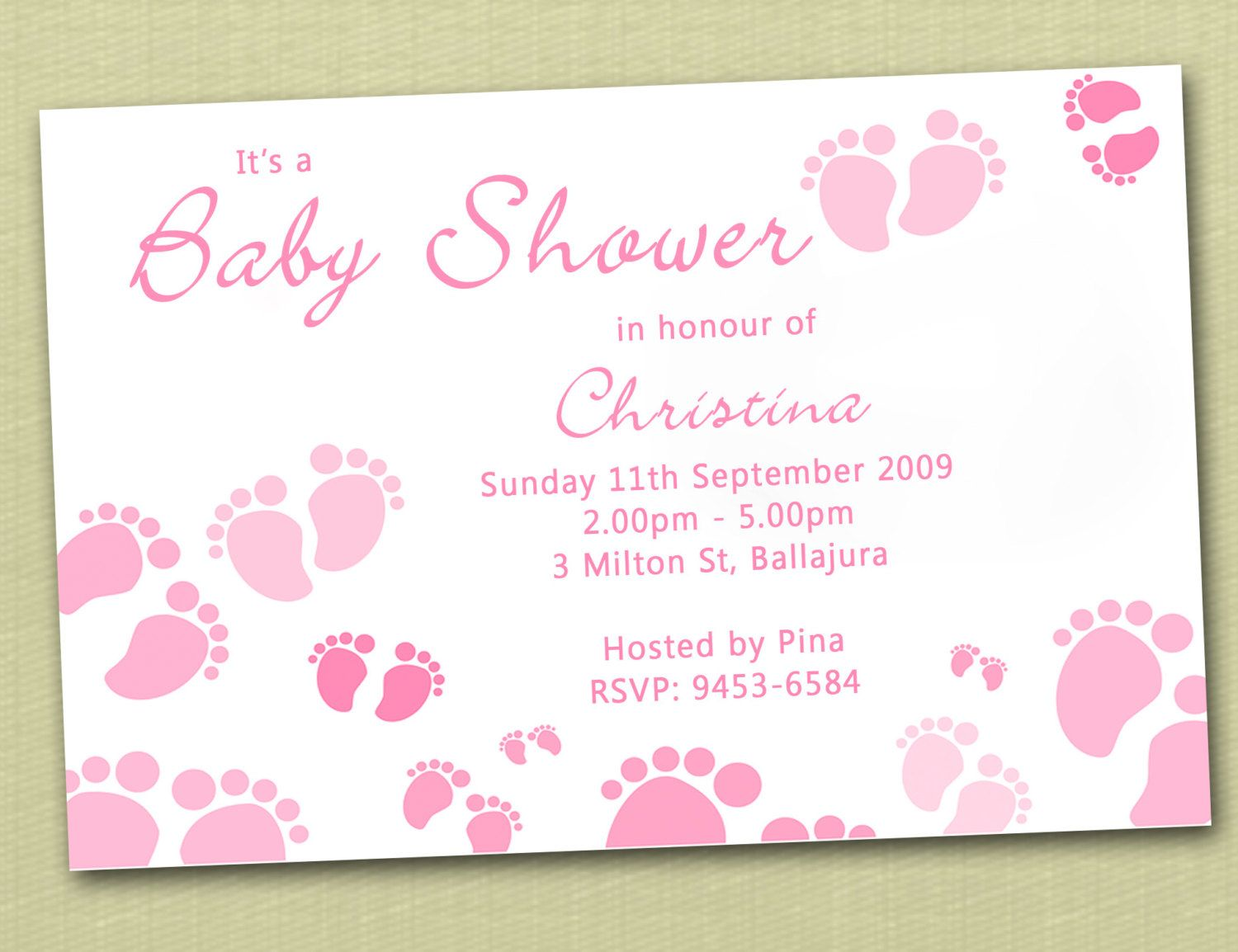 Baby Feet Personalised Baby Shower Invitation - YOU PRINT | Baby ...
