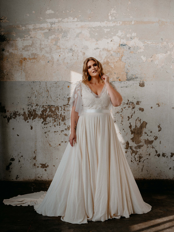 Boho Embroidered Sheer Top Flutter Sleeves V Neck Etsy Plus Wedding Dresses Wedding Dresses Lace Boho Wedding Dress [ 3000 x 2250 Pixel ]