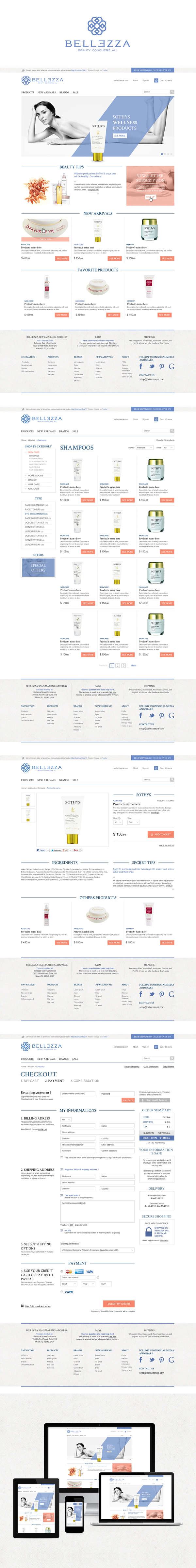 Bellezzas Responsive E Commerce By Jeremy Husser Via Behance Dengan Gambar