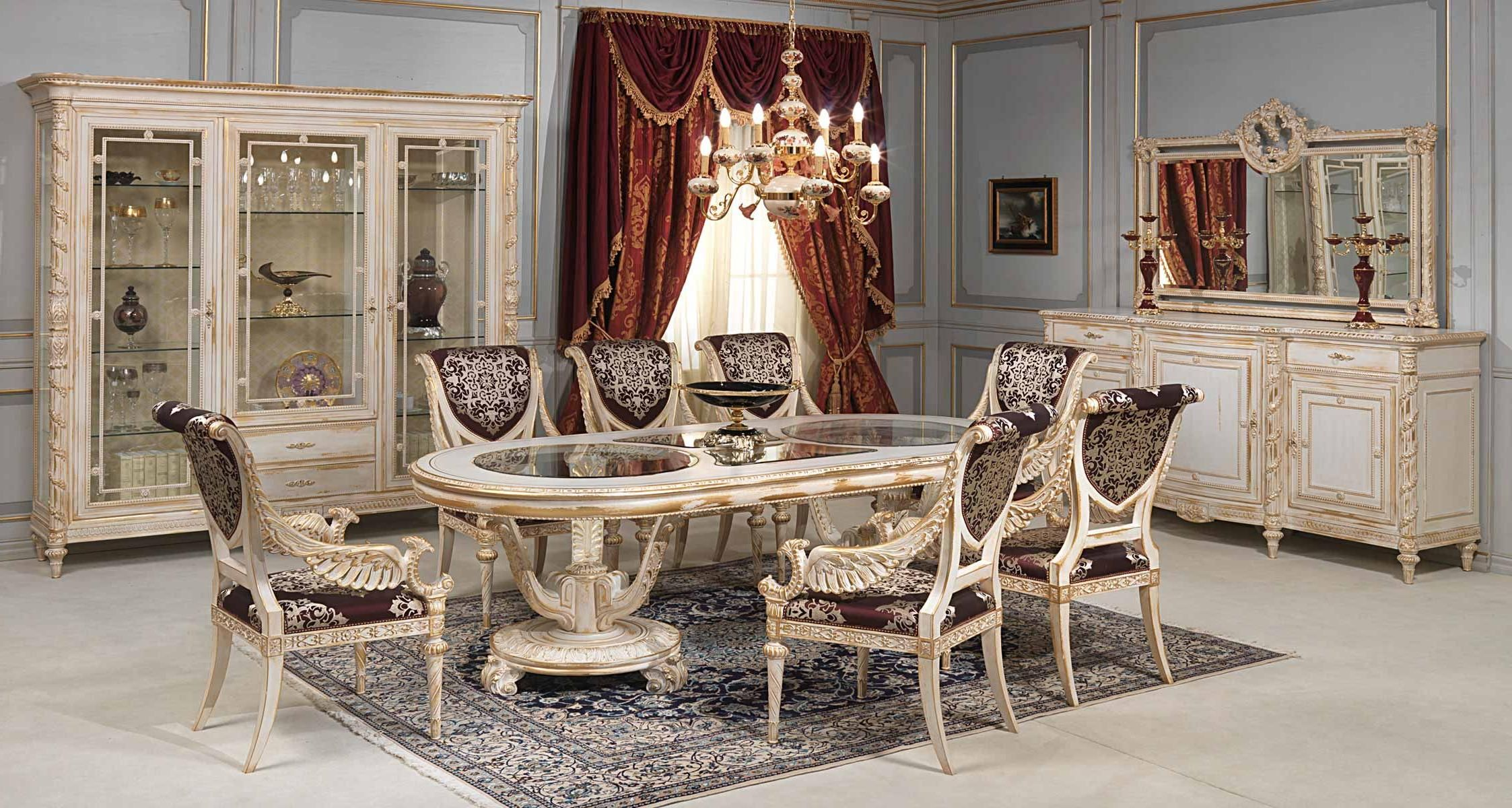 Luxury Dining Room Table Design With White Gold Chair Including Floral Rug Under The Also Elegant Dresser And Furniture Shelves In Nearby Red