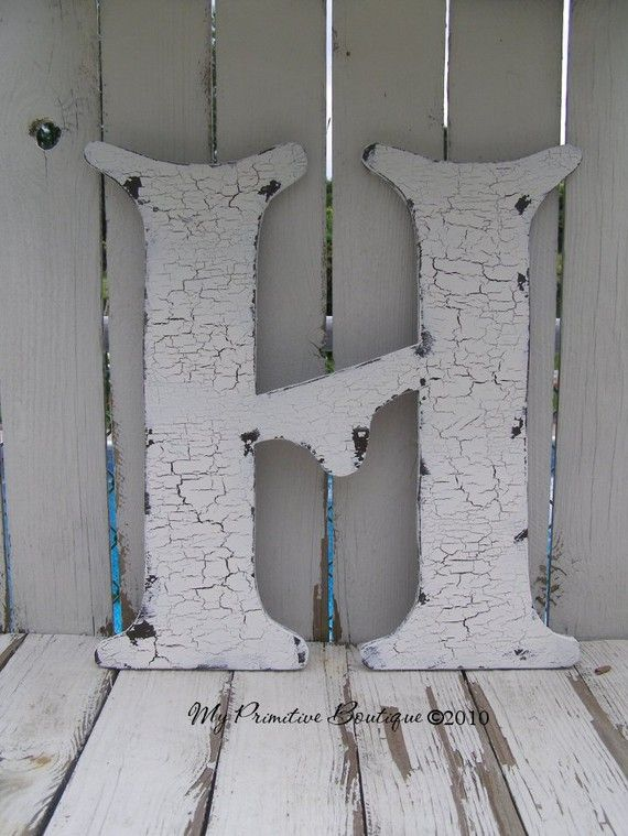 Letter H 2 Feet Tall Wood Shabby Chic Letters Large Frame Shelf