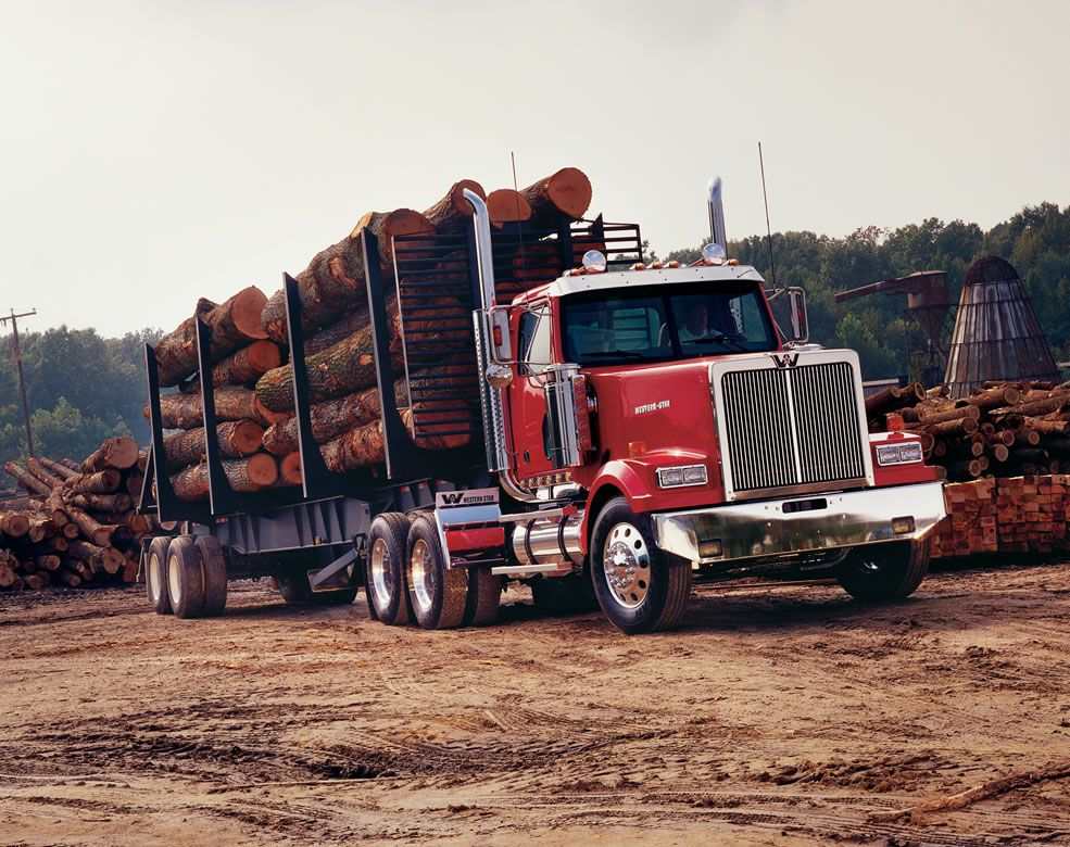 Western Star 4900 Logging Haul Truck Heavyhauling Did This For Two Summers In St Regis Montana Start White Truck Freightliner Trucks