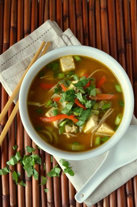 Asian Noodle Soup To Cure a Cold by coffeeandquinoa: Mmmmm… warm fragrant broth to warm you up from the inside out and clear the sinuses...nothing better to cheer you up when you're sick than hot, noodley soup.