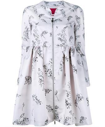 MONCLER - Floral Print Bell Coat