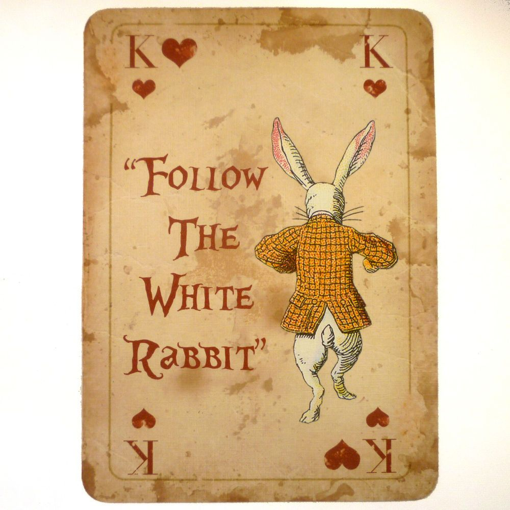 alice in wonderland vintage a4 quote playing card prop mad hatters