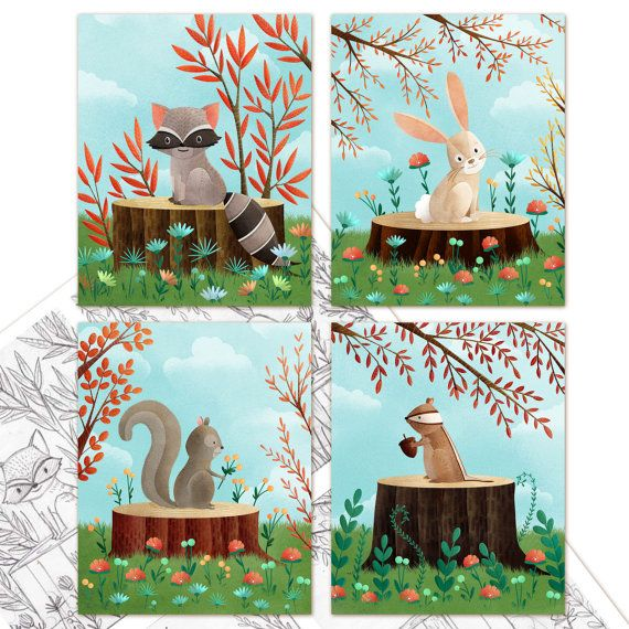 Kids Woodland Friends Art Print Set of 4 by TheFoxandTheTeacup