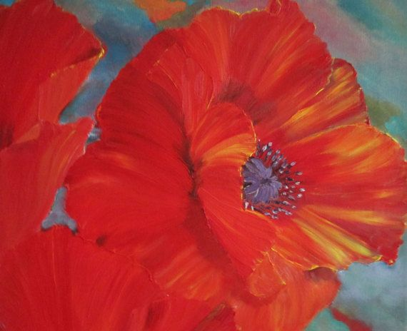Red poppies wall art, Red Poppy Painting, Flower Painting , Original ...