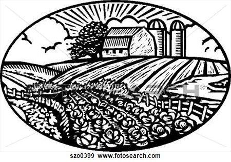 Farm Fields Clipart Black And White