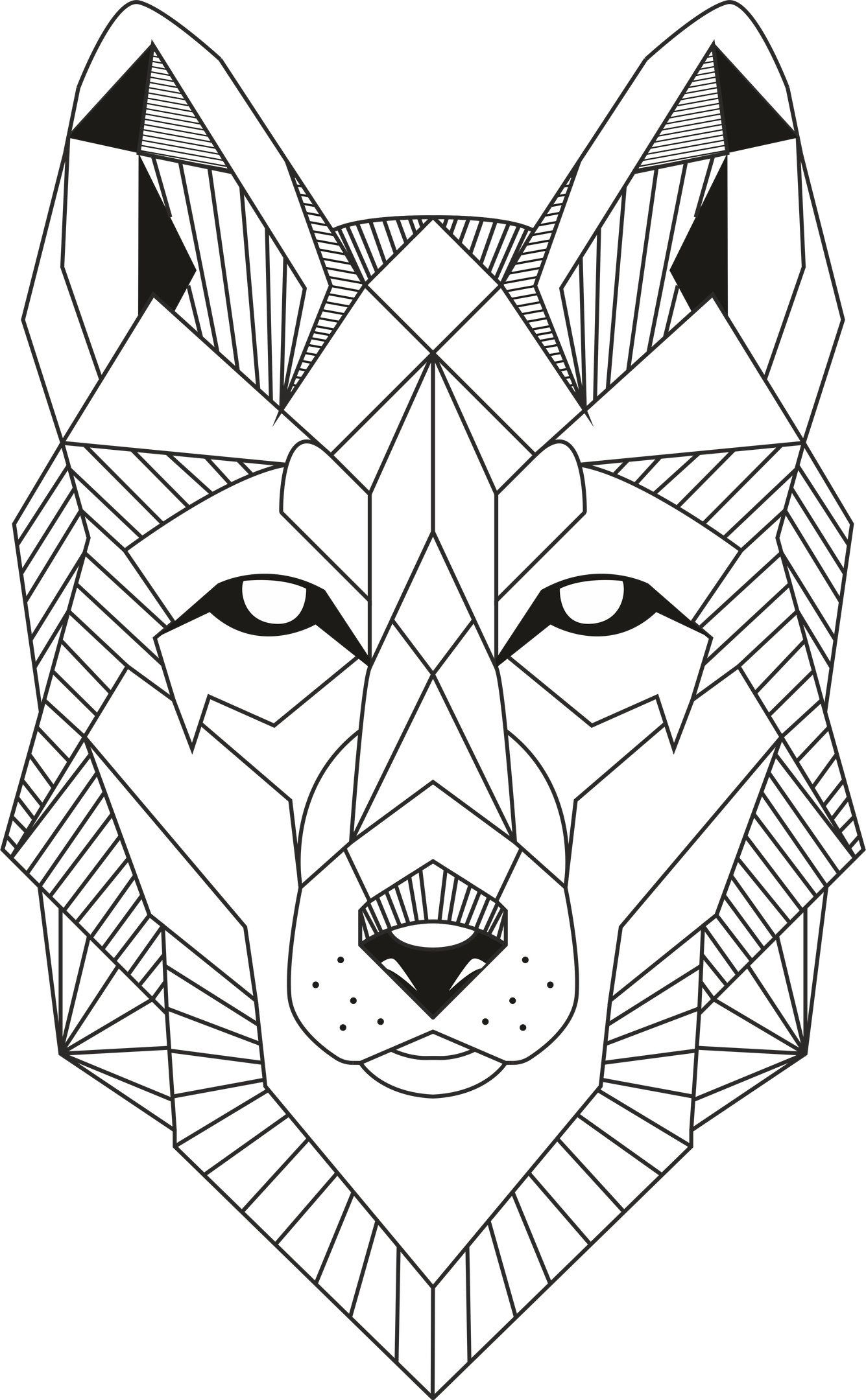 Wall Wolf Lineart Clipart panel DXF file for Laser Cut and CNC router, CDR, dxf files for cnc, laser cut files, vector cutting plan