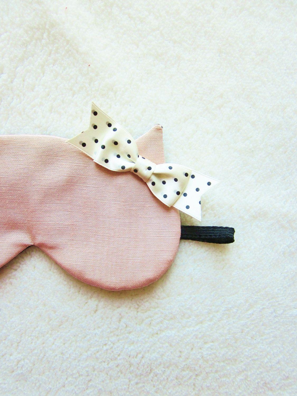 Pink Grosgrain and Black Silk Cat Eye Mask.