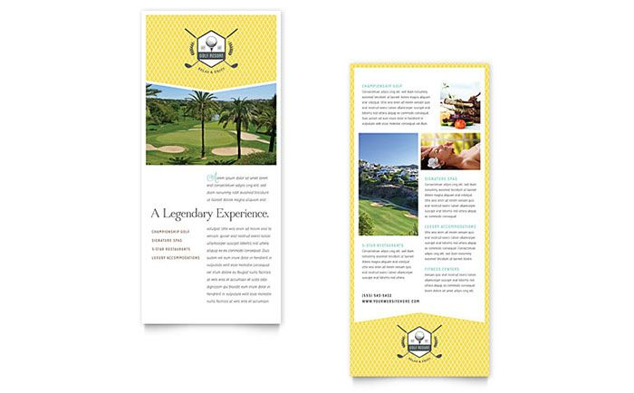 Golf Resort Rack Card Design Template By Stocklayouts  Layouts
