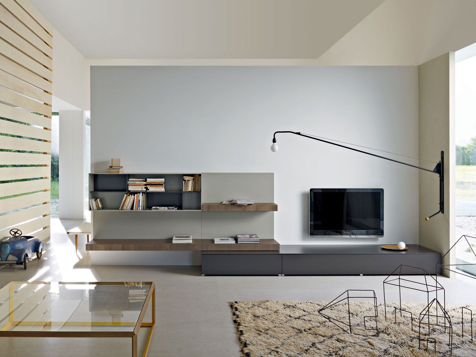 Sectional Tv Wall System Pass Sectional Storage Wall Molteni  # Deco Table Tele Plus Homecimema