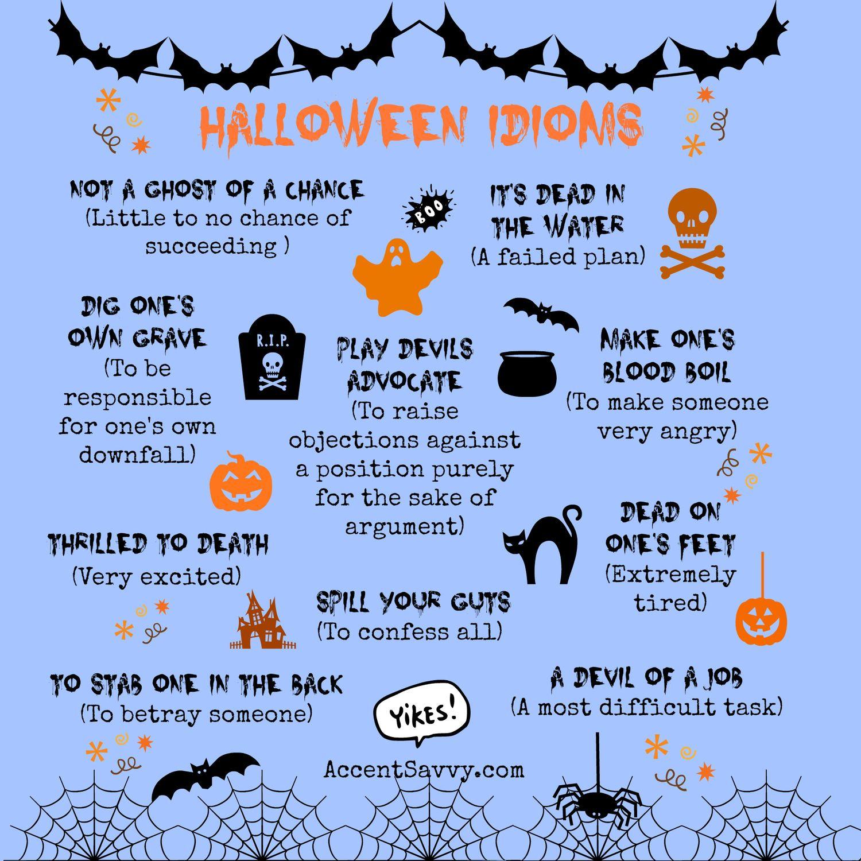 Halloween Idioms   Halloween vocabulary [ 1500 x 1500 Pixel ]