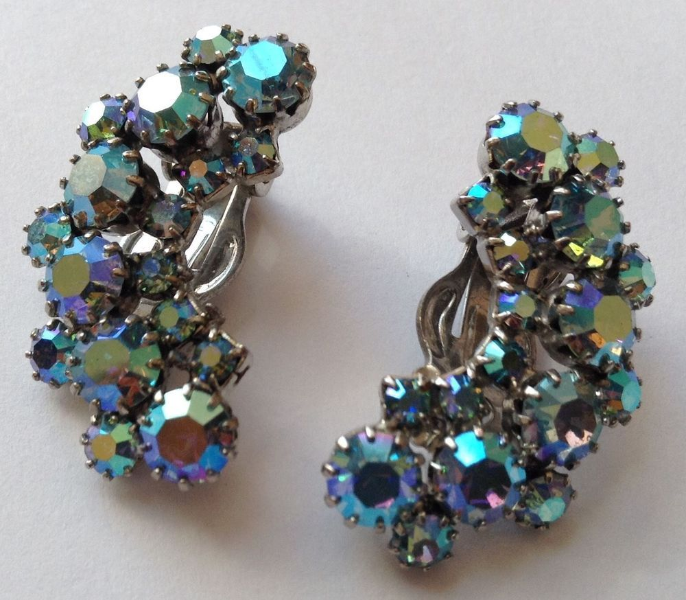 Vintage Weiss Signed Borealis Blue Rhinestone Earrings #weiss