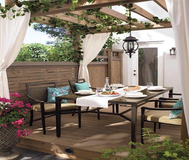 Our 4 Favorite Patio Pergola And Deck Lighting Design Tips: Pergola Decoration With Fabric Curtains