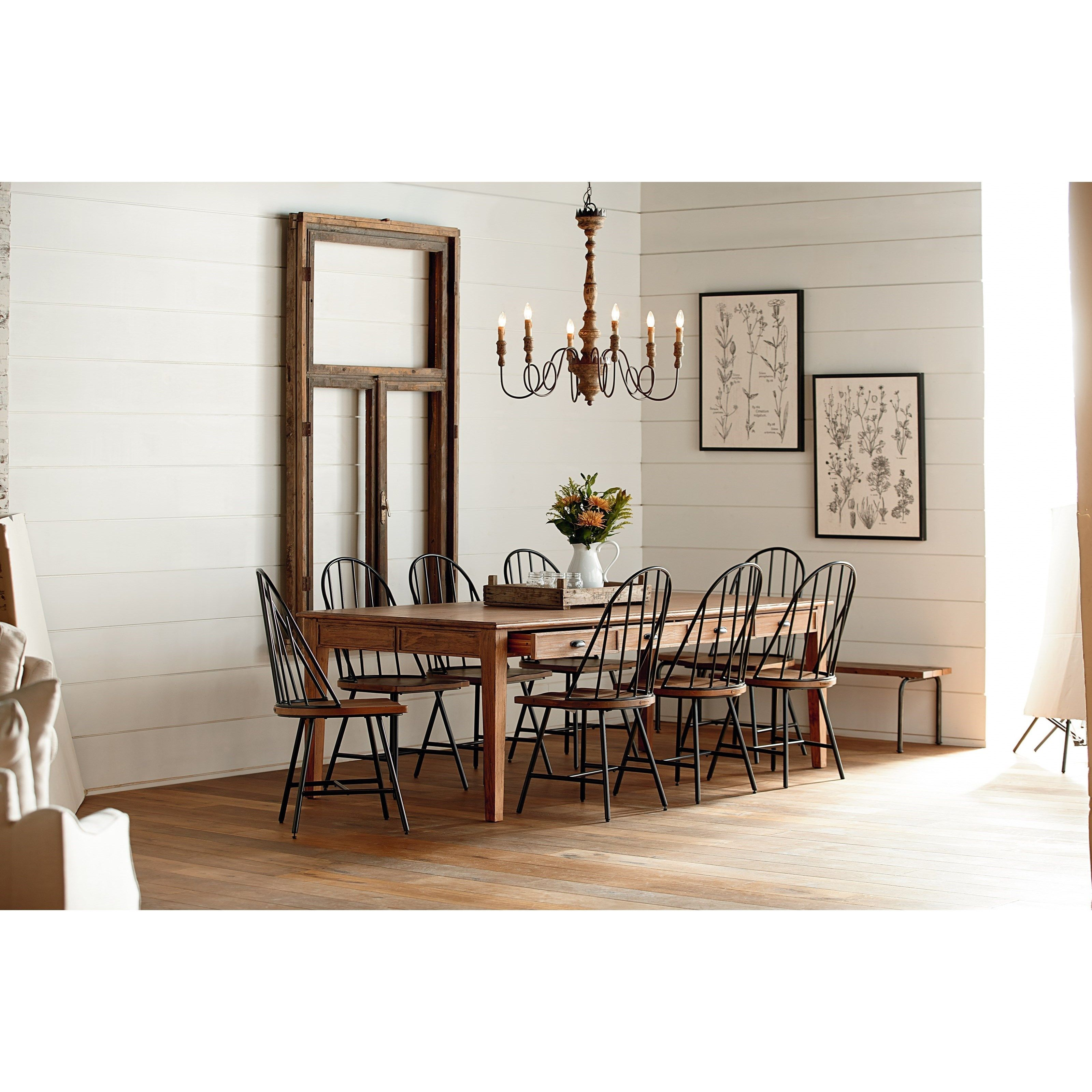 Farmhouse 10 Piece Dining Set with Hoop Windsor Chairs Bench and