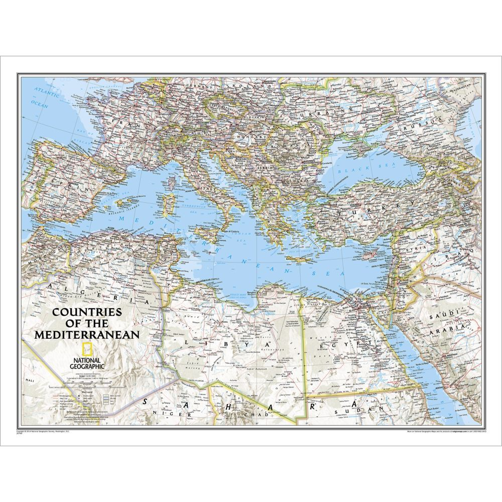 Countries Of The Mediterranean Classic Wall Map Laminated National Geographic Maps Wall Maps Map