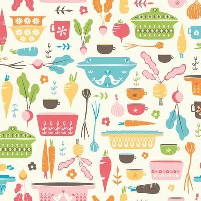 Cazuelas vintage con verduras | Diseños de kibobo | ilatela.com, imprime tus sueños en tela