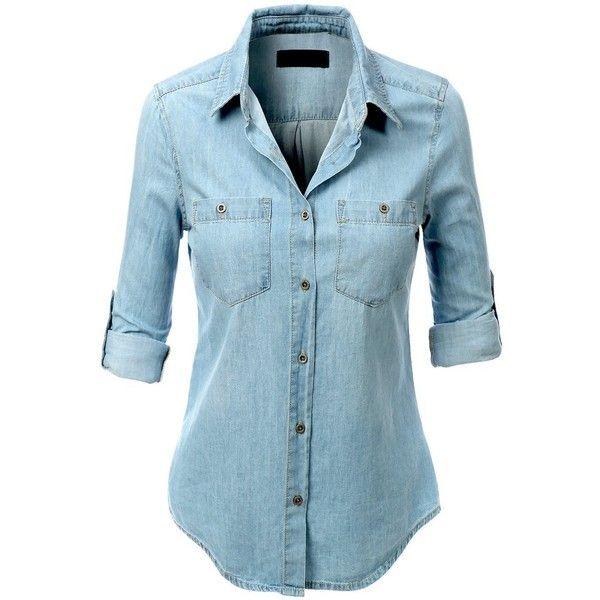 95e1ab5eb LE3NO Womens Lightweight Button Down Denim Jean Shirt with Pockets ($26) ❤  liked on Polyvore featuring tops, shirts, blue top, button down shirt, ...