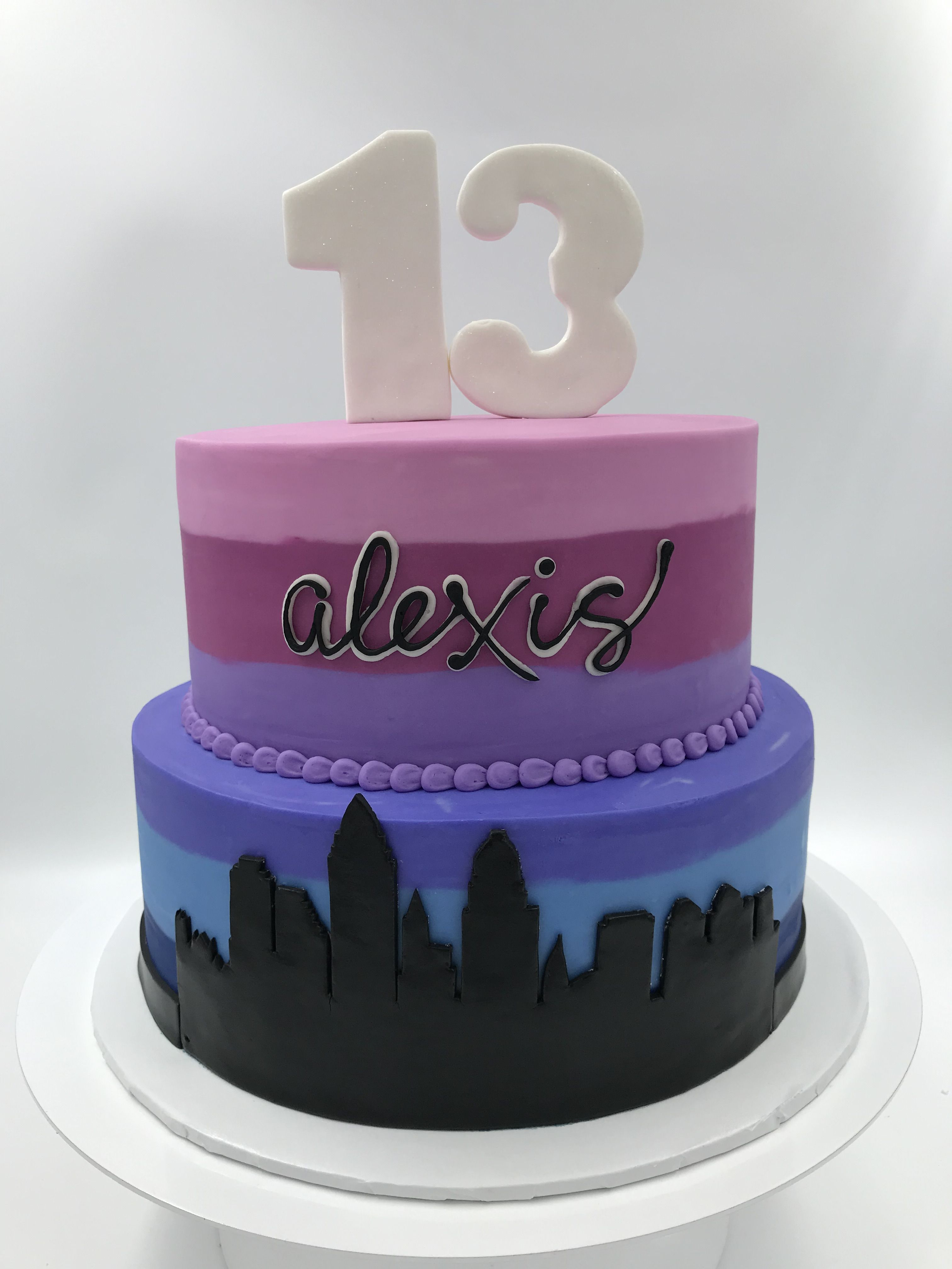 Stupendous Ombre Purple And Blue 2 Tier Skyline 13Th Birthday Cake By 3 Sweet Funny Birthday Cards Online Unhofree Goldxyz