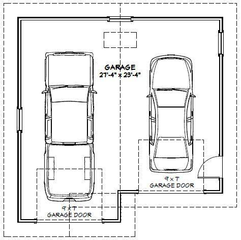 28x28 2Car Garage 28X28G1E 728 sq ft Excellent Floor Plans – 28X28 Garage Plans