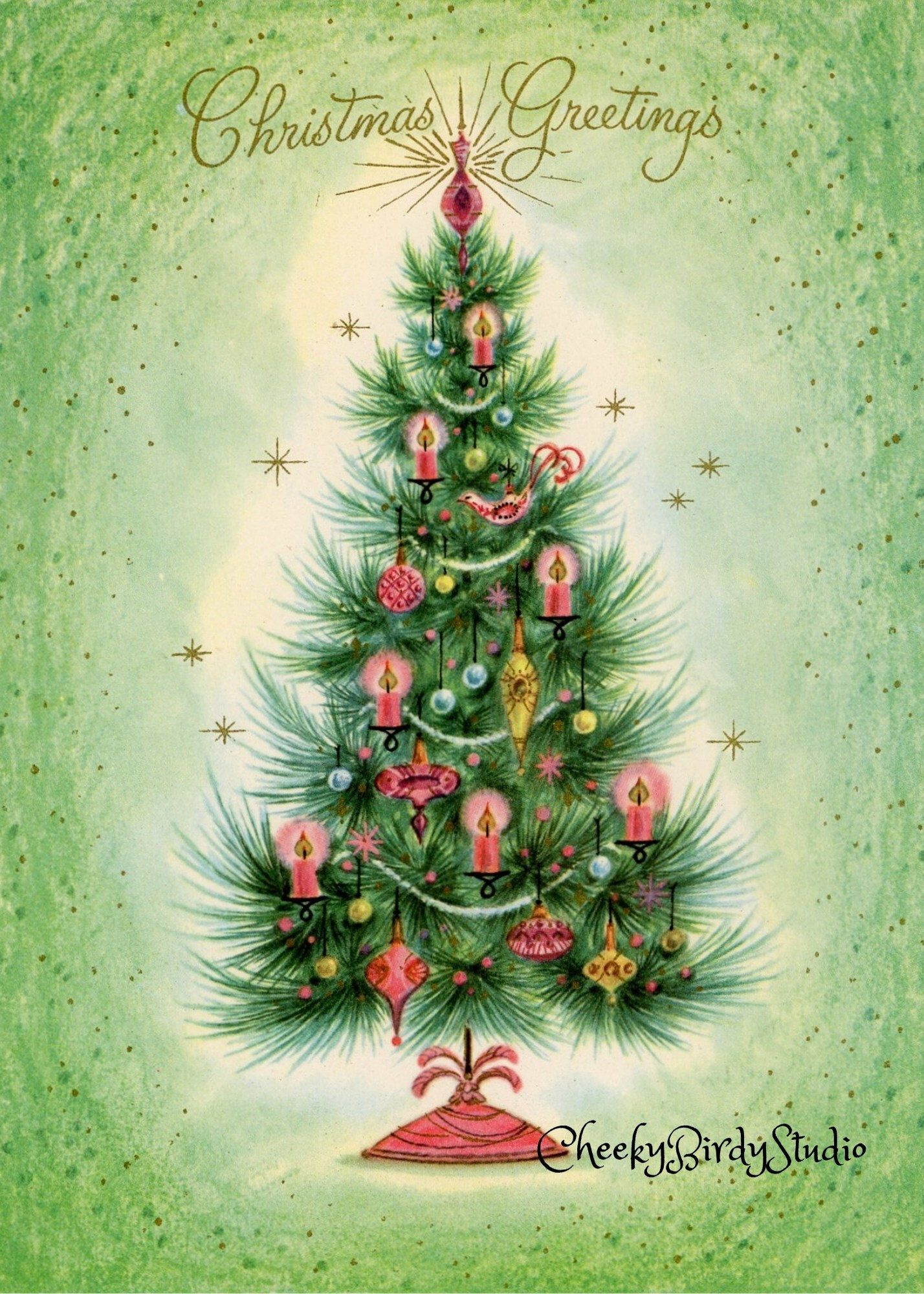 Pink Decorated Christmas Tree Christmas Card 5 X7 Gift Enclosure Digital Download 2 Sizes W Message Candlelit Tree Digital Print In 2020 Christmas Tree Decorations Christmas Cards Vintage Christmas Cards
