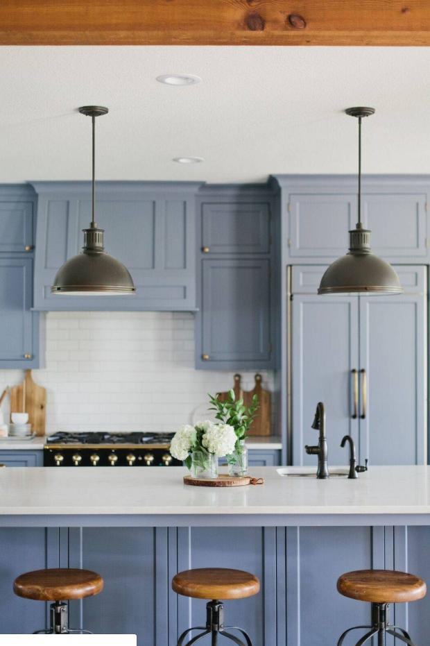 pin by benjamin schuster on kitchen in 2019 blue kitchen island industrial lighting lighting on kitchen island ideas white quartz id=70252