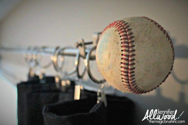 Diy Wooden Baseball Bat Curtain Rod Drill Hole In Top Of Both