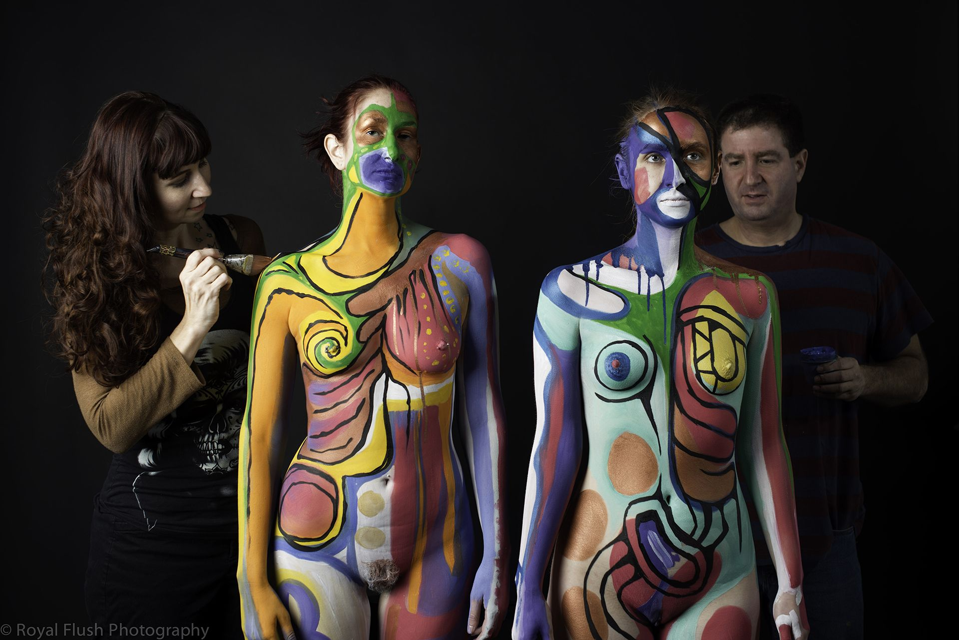 Dominated sex image of naked body paint of male