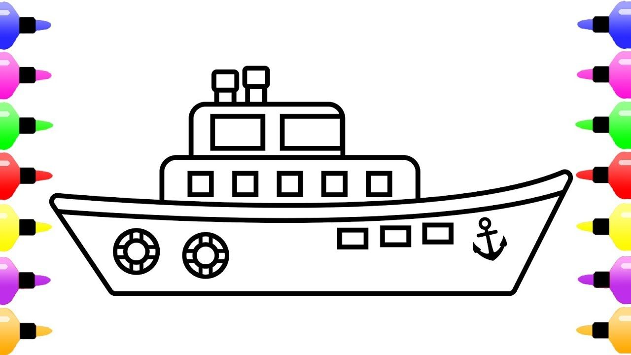 How To Draw A Ship For Kids Children S Coloring Book With Colored Marker Childrens Colouring Book Color Magic Coloring Books