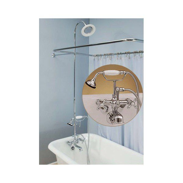 English Telephone Faucet And 45 X 25 Clawfoot Tub Shower Enclosure