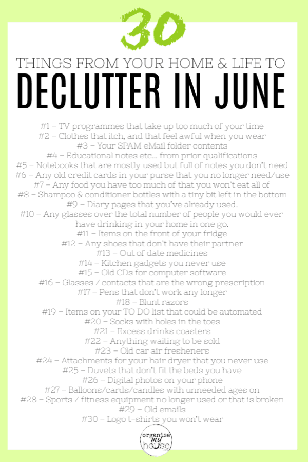 30 Things to Delete from Your Home and Life in June - incl. Checklist