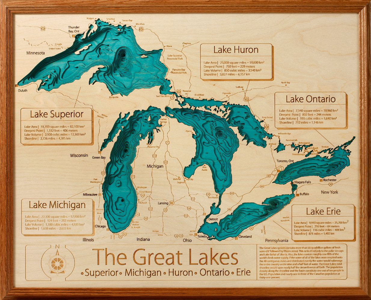 Great Lakes 16x20 3d Wall Art Lake Art Lake Wall Art Lake Map