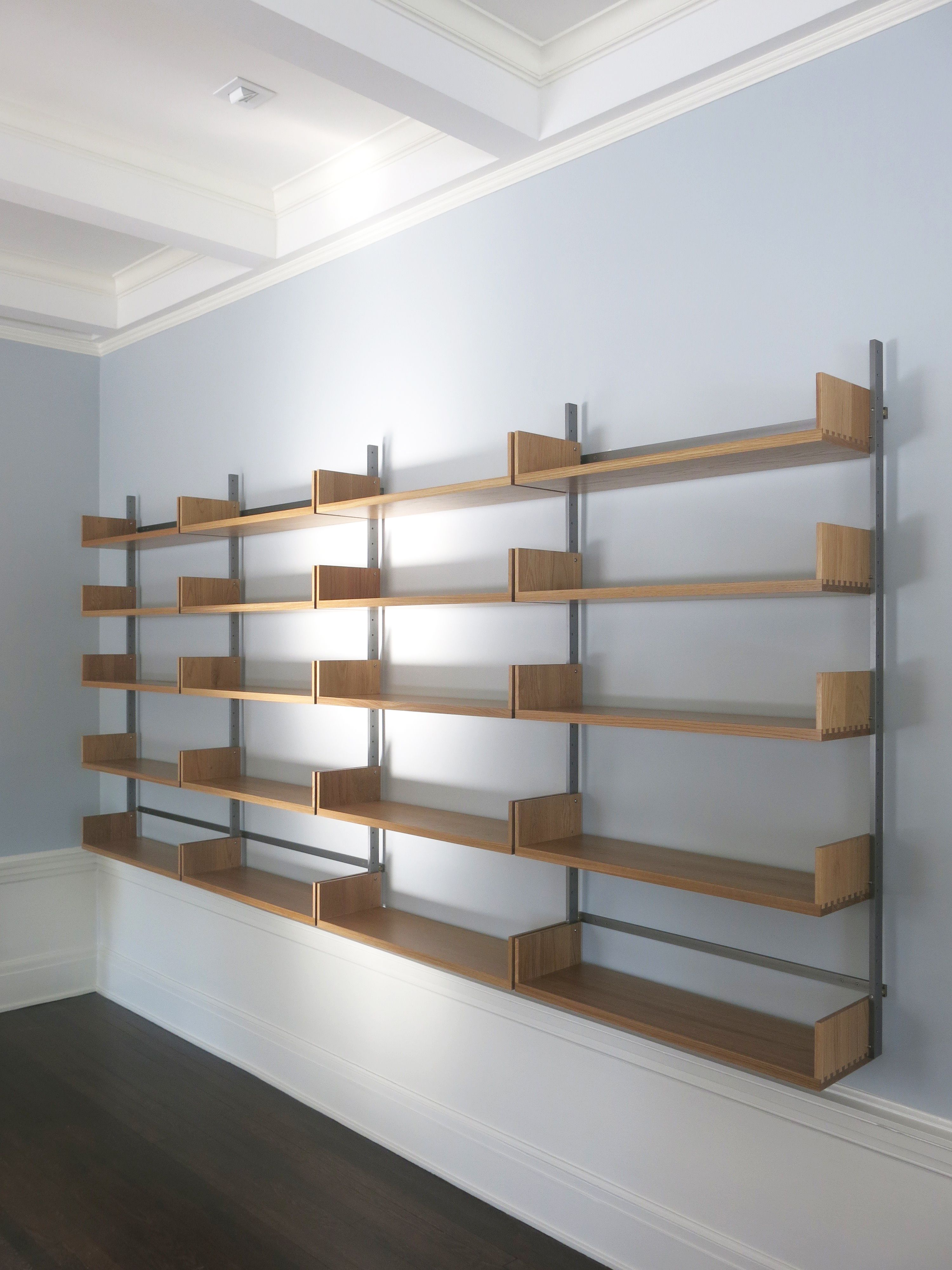 As4 Modular Shelving System In White Oak And Cold Rolled Steel Wall Mounted Furniture Store Design Interior Modular Shelving Home Office Design