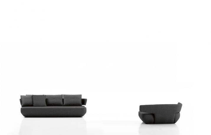 Levitt design by Ludovica + Roberto Palomba.  Special moulds are used to obtain the elegant curved backs.  The seat is made of high-quality viscoelastic material