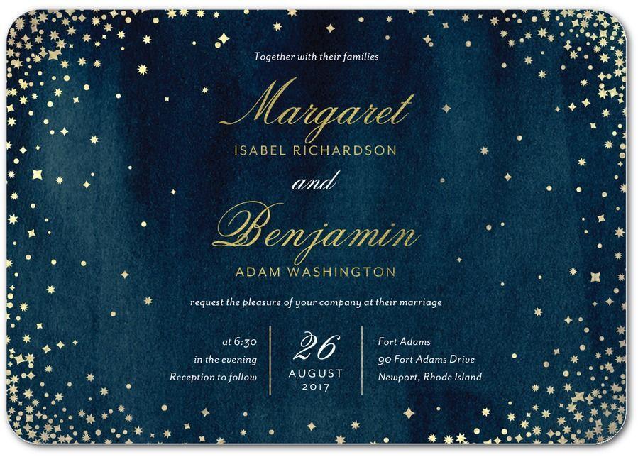 Elegant Sky - Signature White Wedding Invitations in Baltic or Amethyst   Petite Alma