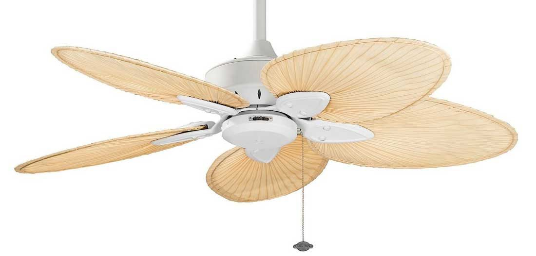 Fanimation windpointe fp7500mw matte white ceiling fan with natural fanimation windpointe fp7500mw matte white ceiling fan with natural palm leaf blades aloadofball Image collections