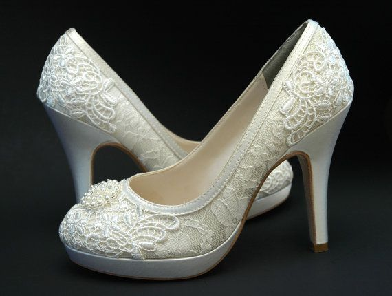 82b0695a7e86b Wedding Shoes Vintage Wedding Lace , Swarovski Crystals and Pearls ...