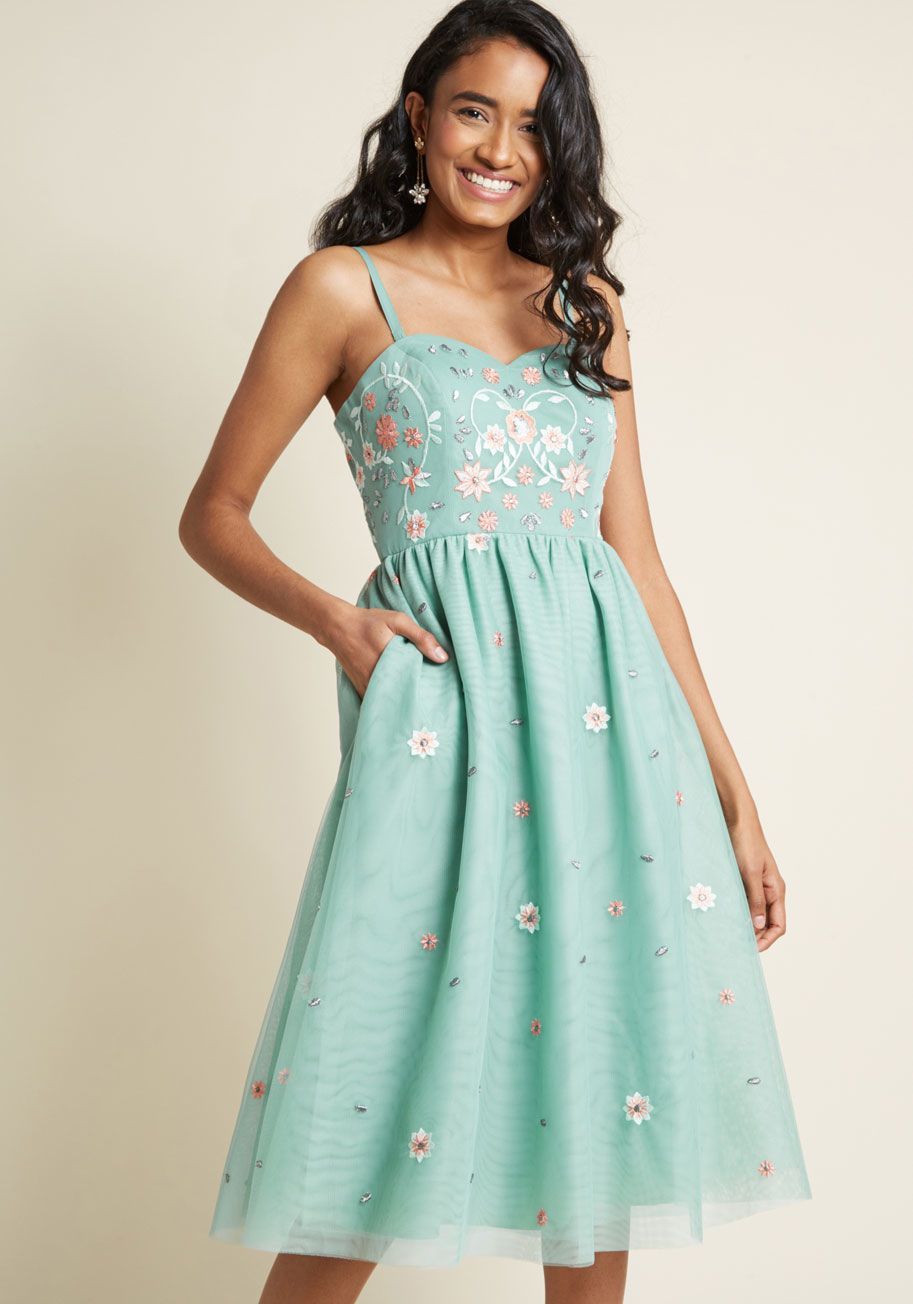 Dresses to wear to a wedding as a guest in april  Couth and Charismatic Midi Dress in Sage  BlueGreen Dress I Like