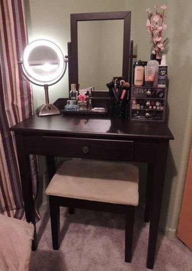 Espresso Vanity Table Mirror Stool Set Makeup Table Drawer French
