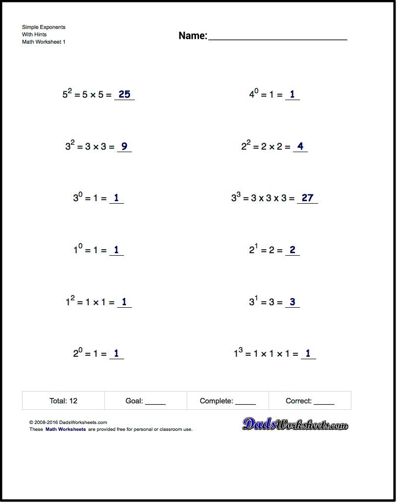 Exponents worksheets simple exponents and powers of ten