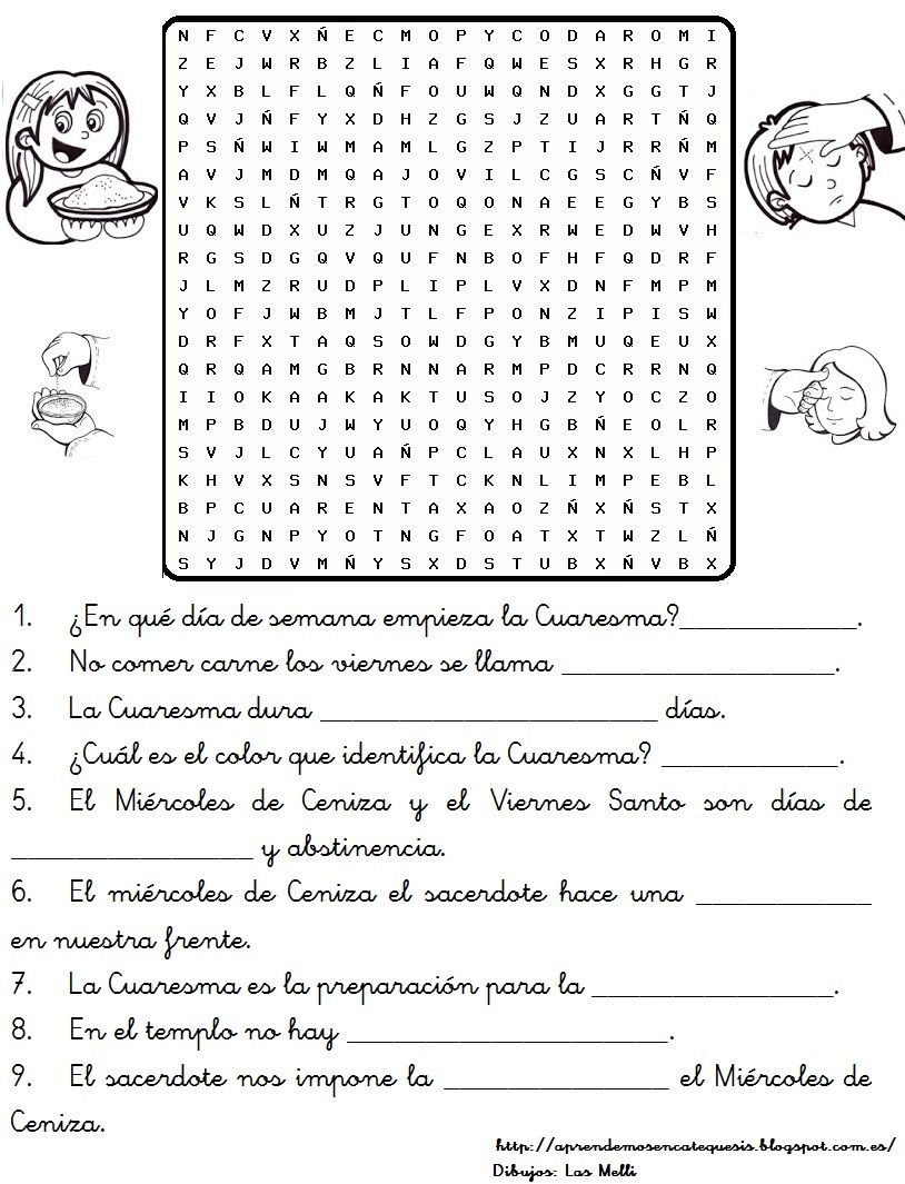 Ficha para colorear sobre el significado de la Cuaresma: Fuente ...