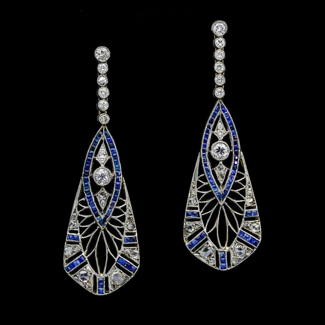 These Incredible Calibrecut Sapphire And Diamond, Pierced Openwork Art  Deco Drop Earrings,