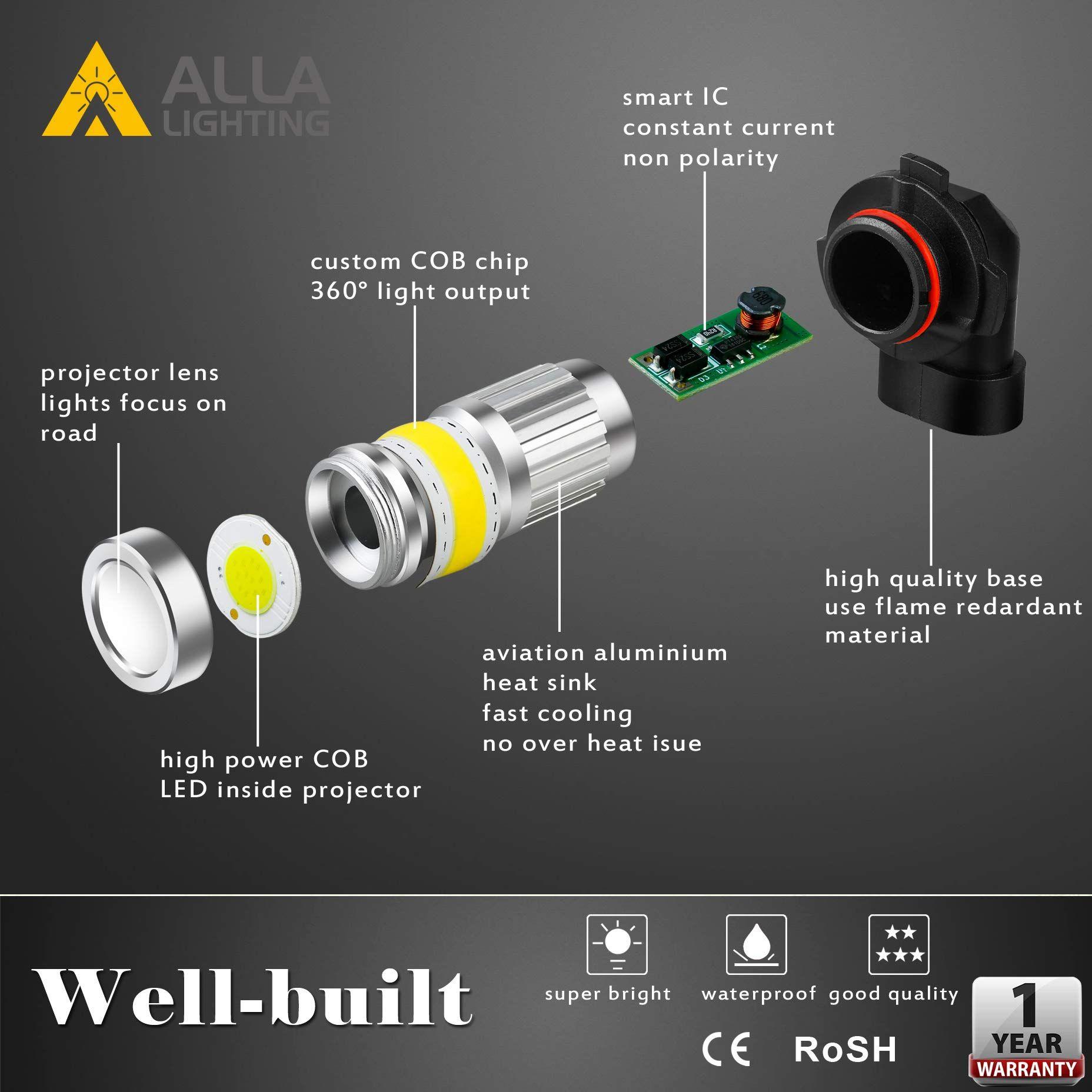 Alla Lighting Super Bright LED 9145 Driving Fog Light Bulb 6000K White Upgrade V