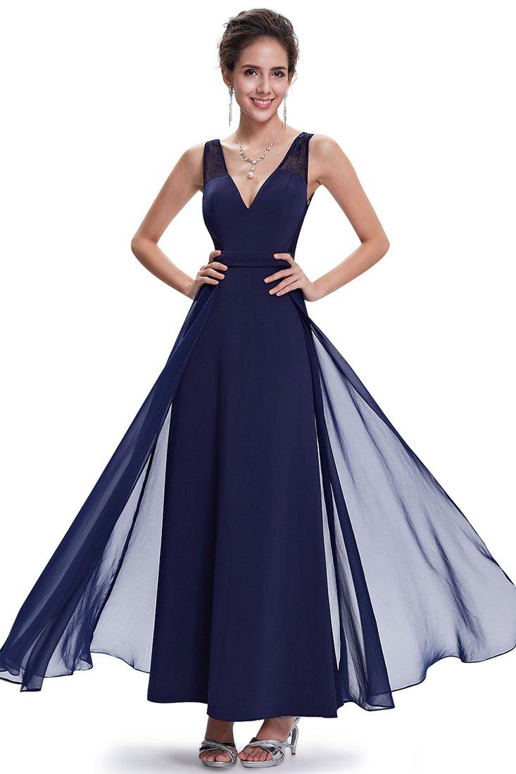 Navy V Neck Chiffon Maxi Dress - Fashionhub - Formal Occasion ...