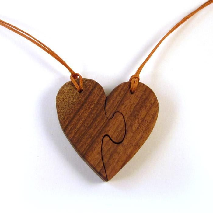 Wooden Puzzle Heart Necklace Wooden Pendant Wooden Jewelry Wooden Necklace