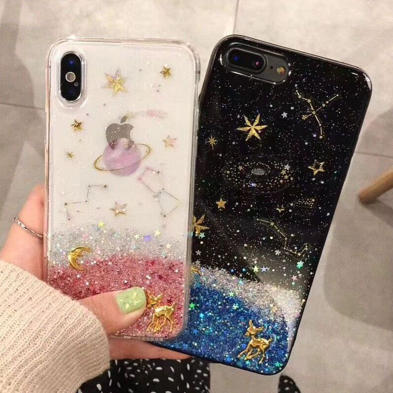 newest collection ec375 fecfb $5.68 - Cute Fawn Moon Star Planet Bling Giltter Soft Case Cover For ...