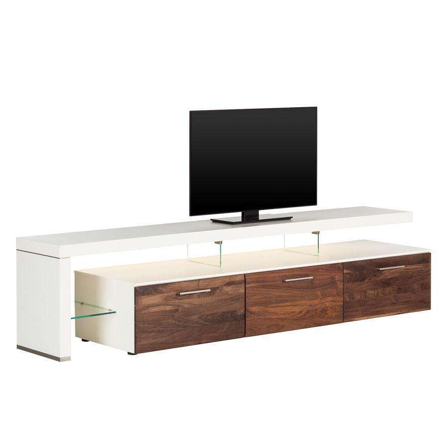 tv lowboard solano ii mit beleuchtung nussbaum wei mit tv bank links r ume. Black Bedroom Furniture Sets. Home Design Ideas