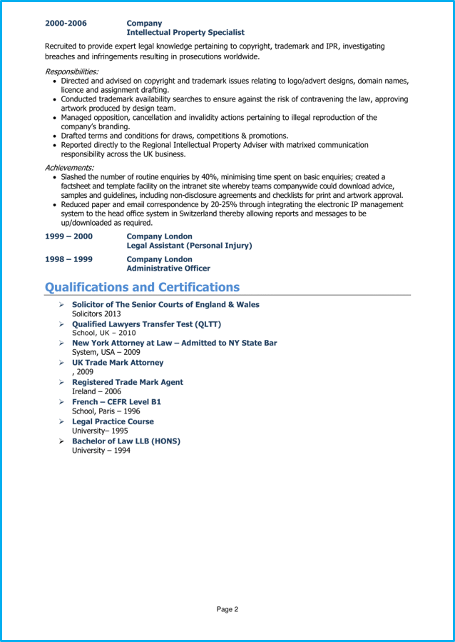 Lawyer Cv Example Page 2 Good Cv Cv Examples Cover Letter For Resume